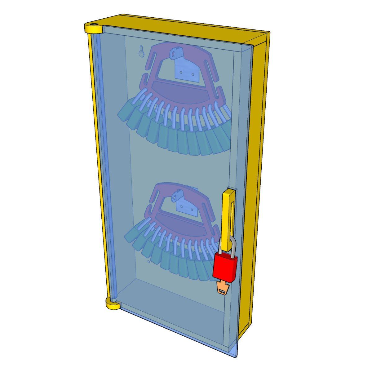 Postes de cadenassage en polyéthylène jaune vif | BPC-1224-2V-PF