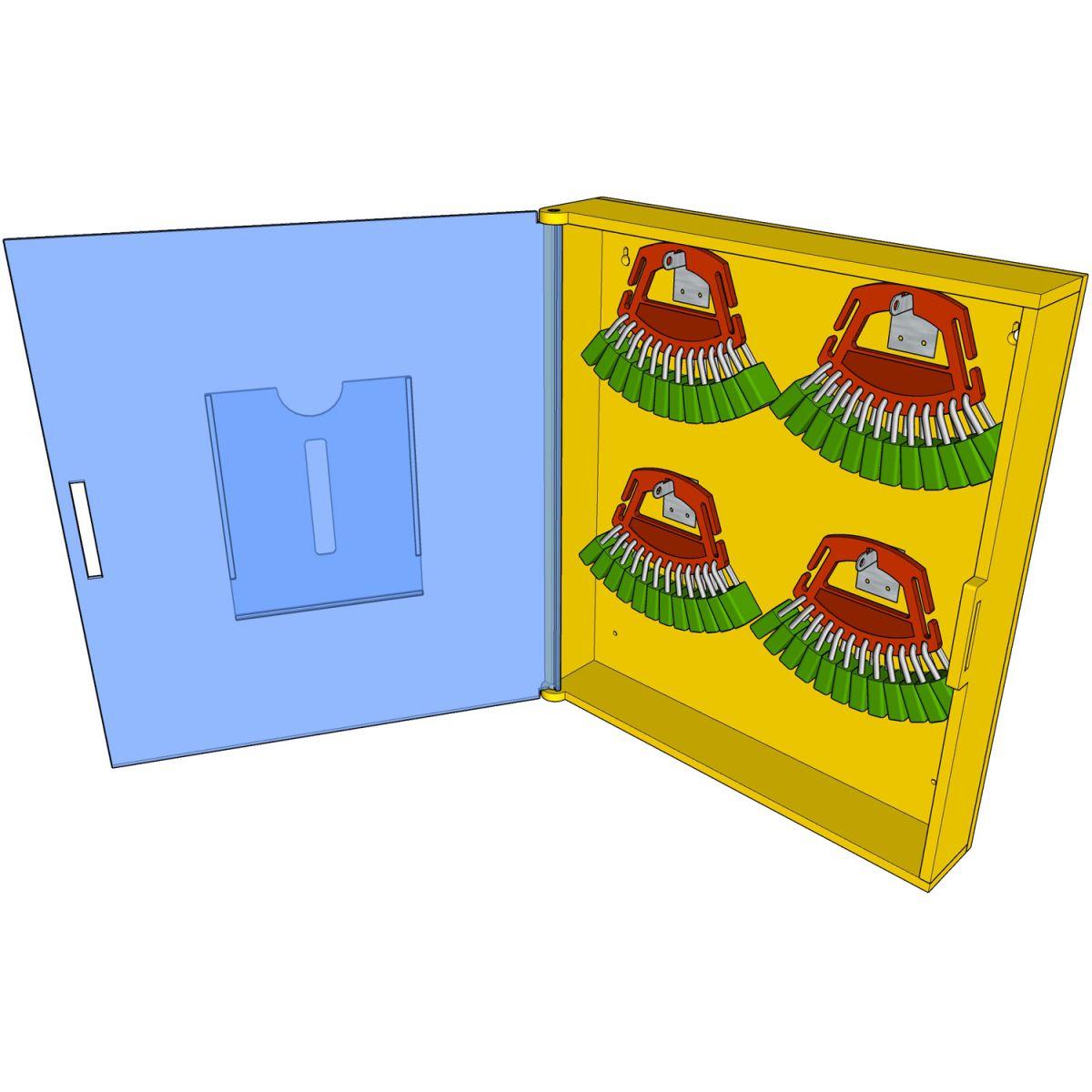 Postes de cadenassage en polyéthylène jaune vif | BPC-1224-2V-PF 2