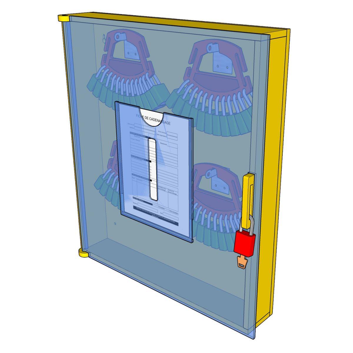 Postes de cadenassage en polyéthylène jaune vif | BPC-2326-4V-PF